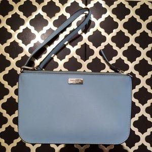 Kate Spade Leather Baby Blue Zip Clutch Wristlet